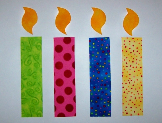 Fabric Applique TEMPLATE PATTERN ONLY Birthday Candles by etsykim