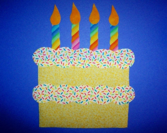 Fabric Applique TEMPLATE ONLY Birthday Party Cake