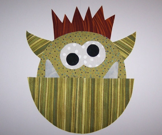 PDF Applique TEMPLATE Pattern ONLY Humphrey The Monster