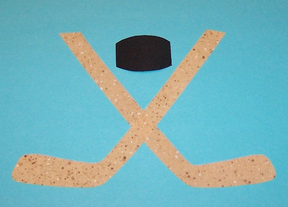 Fabric Applique TEMPLATE Pattern ONLY Hockey Sticks & Puck