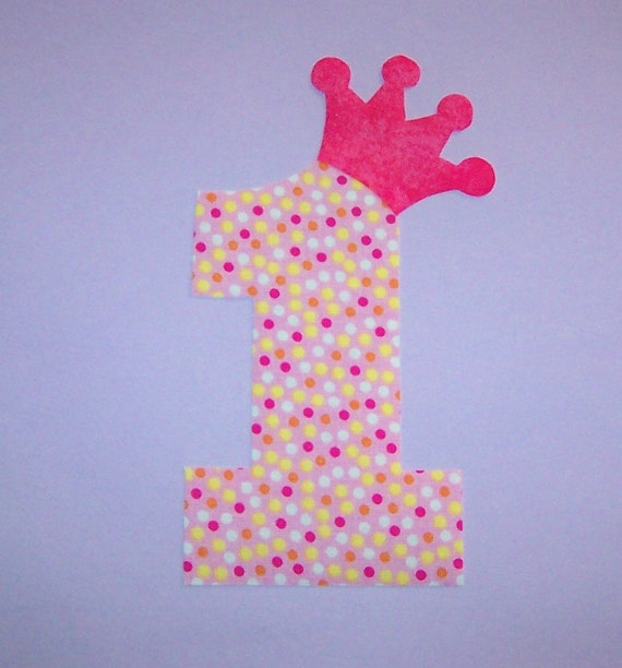 ... Applique TEMPLATE Pattern ONLY ....NUMBER 1 One With Princess Crown