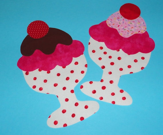DIY Fabric Applique TEMPLATE Pattern ONLY Ice Cream Sundae...New