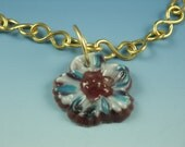 Spring Floral Fantasy Pate de Verre Fused Glass Necklace RESERV ED for hcohen57