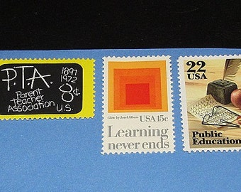 PUBLIC EDUCATION .. Unused Vintage US Postage Stamps .. Enough to mail 5 letters