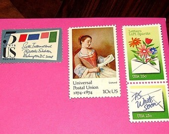 P.S. WRITE SOON .. Unused Vintage US  Postage Stamps for you to mail 8 letters. Wedding invitations | Party Invitations | Valentine | Penpal