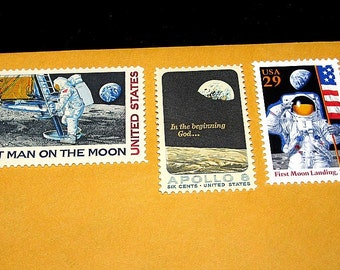 MOON Landing .. Unused Vintage Postage Stamps ..  Enough to mail 10 letters