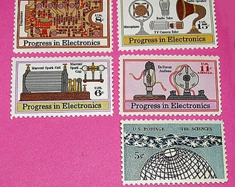 Electronic Progress .. Unused Vintage Postage Stamps .. Enough to mail 10 letters