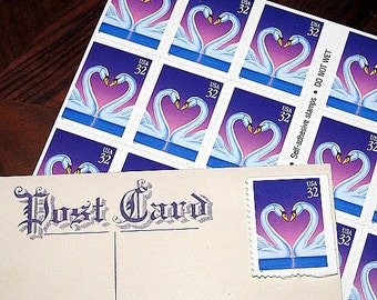 Swan Love .. Purple .. Unused Vintage US Postage Stamps for you to mail 20 postcards