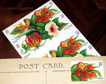 Tropical Flowers .. Unused Vintage Postage Stamps .. mail 20 postcards. Tropical wedding decorations, Florida wedding, Southern paradise