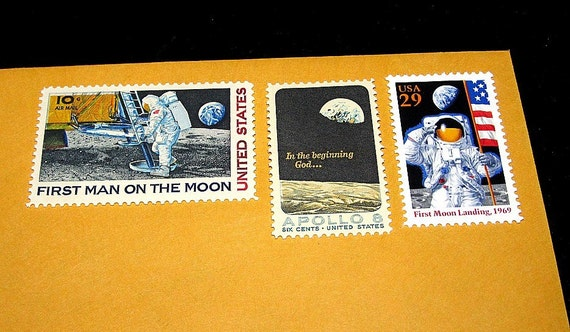 MOON Landing....Vintage MINT Postage Stamps.... Enough to mail 8 letters