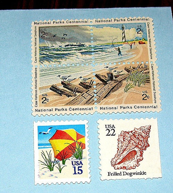 Beach FUN .. Unused Vintage US Postage Stamps .. Enough to mail 10 letters.