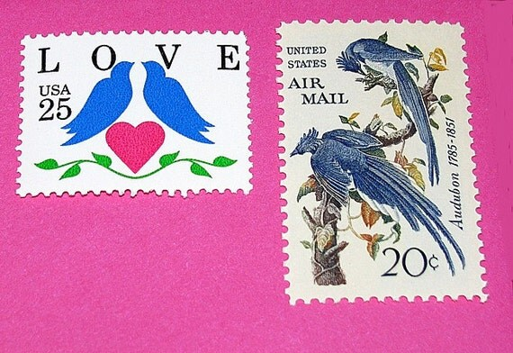LOVE .. Blue Birds .. Unused Vintage Postage Stamps .. enough to mail 5 letters