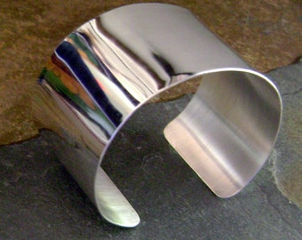 Wide Sterling Silver Cuff - High Shine Finish