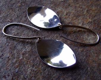 Sterling Silver Leaf Shape Disk Earrings