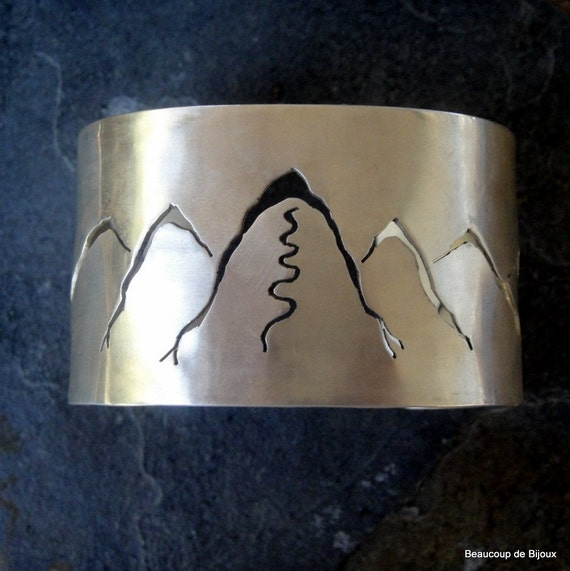 Wasatch Mountain Sterling Silver Cuff in Satin Finish