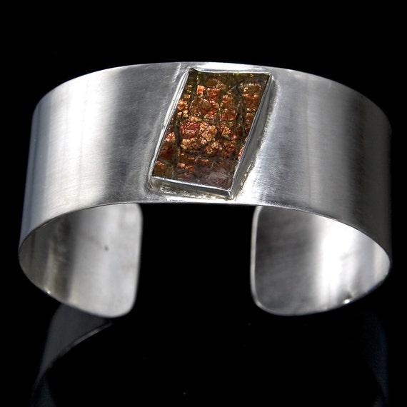 Ammolite and Sterling Silver Cuff Bracelet