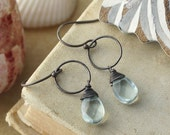 Aqua Quartz Drop Earrings with Oxidized Sterling Silver. Pale Blue and Black.