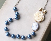 Anna Blue Cameo and Pearl Strand Necklace