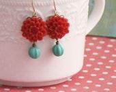 Dangle Earrings, Flower Dangle Earrings, Red Flower Drop Earrings,Turquoise Glass, Dangle Earrings, Retro Flower Dangle Earrings, Bridesmaid