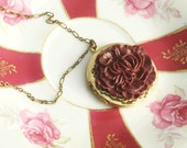 Locket Statement Necklace, Flower Locket Necklace, Burgundy Peony Flower, Valentines Day Locket, Vintage Locket Necklace