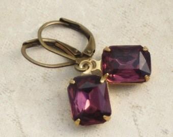 Purple Rhinestone Drop Earrings, Plum Purple