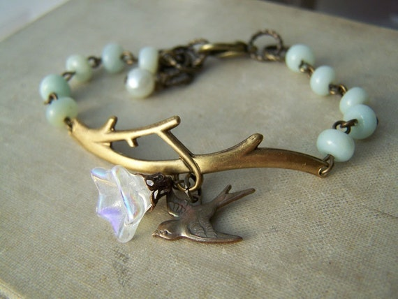 Fly to Me Bracelet. Amazonite and Vintage Brass. Free Shipping