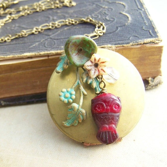 Vintage Locket  Statement Necklace, Autumn Colors, Owl Statement Necklace, Large Round Locket, Photo Locket, Owl Necklace, Flower Locket