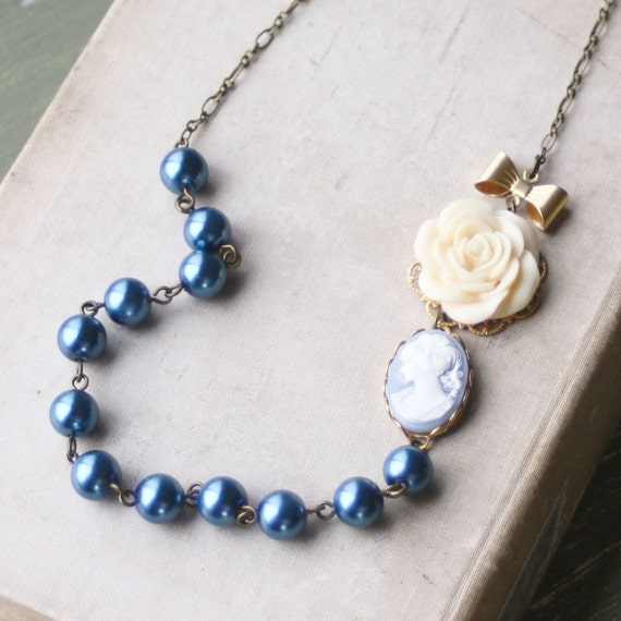 Cameo Necklace, Blue Cameo and Pearl Strand Necklace, Weddings