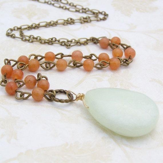Carnelian Strand Necklace with New Jade, Carnelian Strand, Bead Strand Necklace, Stone Bead Strand