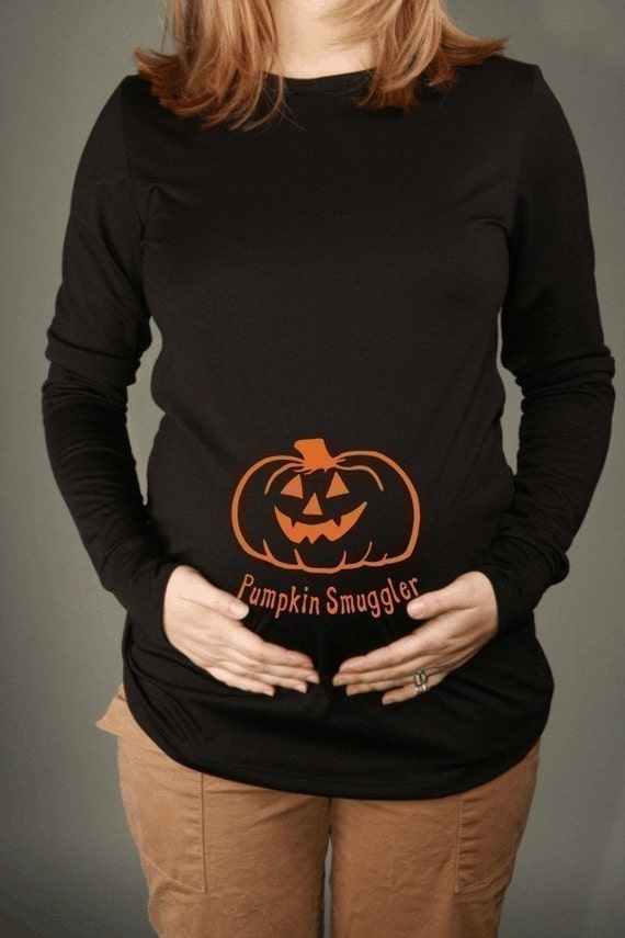 PUMPKIN SMUGGLER  Maternity Top Tee T-Shirt Long Sleeve Black