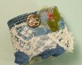 RESERVED FOR MEL\/Vintage Textile Cuff\/ cloisinee floral