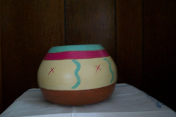 Hand painted, Southwestern Style Bowl, Painted Ceramic, home decoration, indoor or outdoor decoration, multipurpose use bowl, planter,