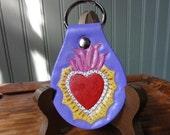 Sacred Heart leather Key Fob