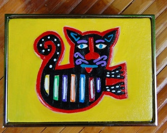 Flying Mola Cat leather handpainted leather Belt Buckle