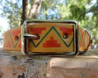 Geometric leather Dog Collar