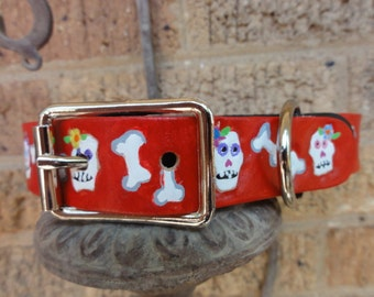 Dog Collar with Day of the Dead Design