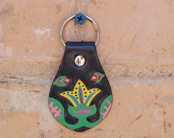 Leather Key Fob with Yellow Mola Flower Design