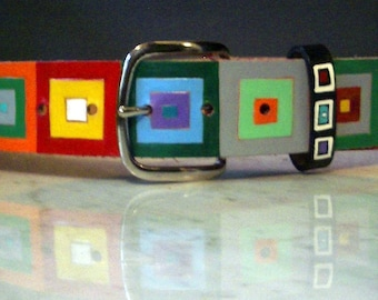 Colored Squares handpainted leather belt
