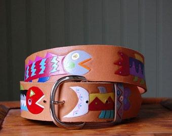 Wild Fish leather handpainted Belt