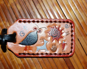 Petroglyph leather Luggage Tag