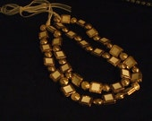 """Handmade-Golden Circles and Squares Buttons Costume Jewelry Set-- Necklace and Earrings-Statement- """"Winter White"""""""