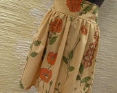 High Waisted Handmade Skirt made from Vintage Recycled Fabric - Flowers