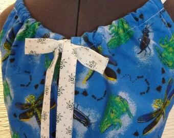 SALE Bug Shirt, Handmade Shirt, Unique Shirt, Bugs Dragonflies, Unique Clothing, Handmade Top, Frogs Crickets,Blue Green, Sleeveless Top