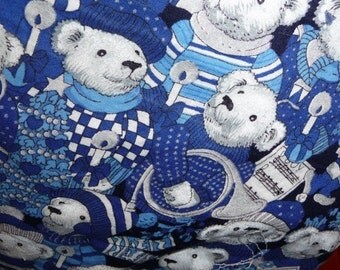 SALE, Winter Bag, Winter Tote Bag, SNOW BEARS, Handmade Tote Bag, Handmade Purse, Snowflake Applique, Music, White Straps, Blue Tote Bag
