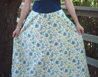 Handmade Halter Dress Blue Rose Dress Handmade Dress Large or Plus Size Halter Dress Vintage Fabric Unique Clothing Pretty