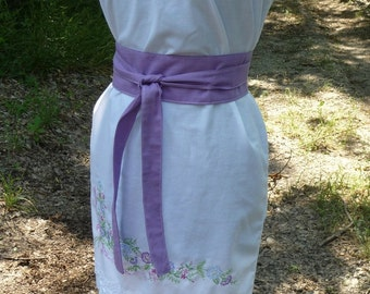 SALE Pillowcase Dress, Handmade Dress, Handmade Obi Belt, Hand Embroidered, Eco Clothing, White Dress, Flowers, Unique Clothing,White Lace