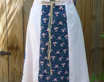 handmade skirt, paneled skirt, vintage fabrics, blue pink, flowers, drawstring waist, wooden beads, unique clothing, hippie boho, roses
