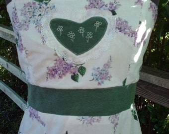 long dress,handmade dress,Hippie Boho,lilac flowers,unique clothing,apron dress,pretty,heart,eyelet,maxi dress,purple flowers,medium large