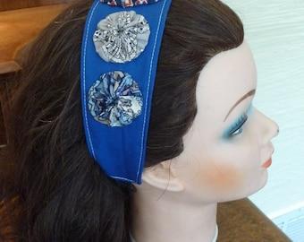 Handmade Headband, Handmade YoYos, Wide Headband, Blue Headband,Elastic Band,Vintage YoYos,Fabric Hair Accessory,Unique Headband,Hippie Boho