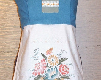 Handmade Top, Handmade Shirt, Handmade Apron Top, Recycled Fabrics, Vintage Lace, Unique Clothing, Recycled Clothing, Spring Summer Top,Cute